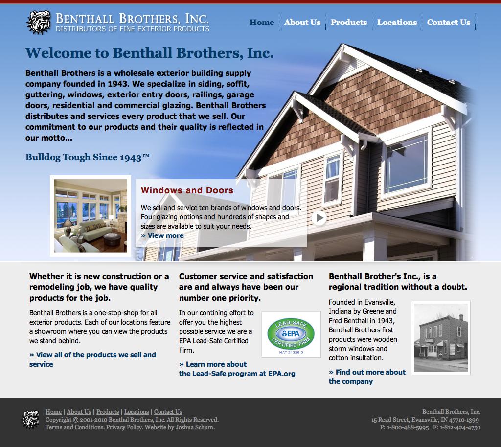 Benthall Brothers, Homepage