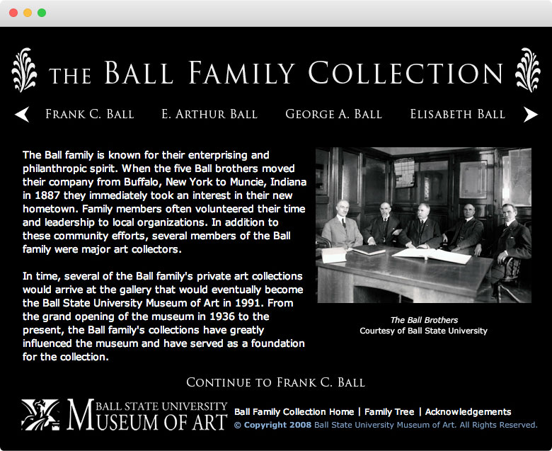 Ball Family Collection, Microsite