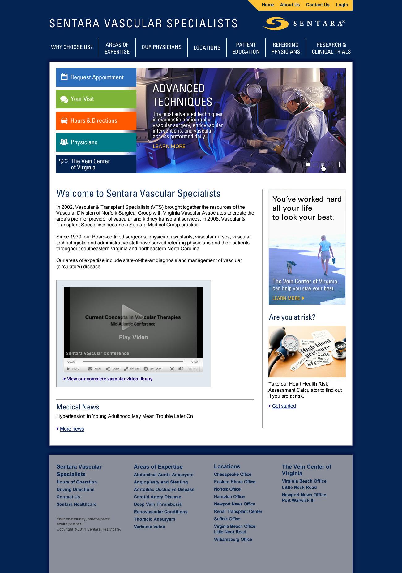 Sentara Vascular, Homepage
